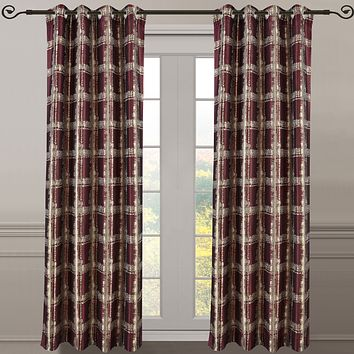 Burgundy 104x96 Pair (Set of 2) Top Grommet Window Curtain Panels Abstract Jacquard Studio