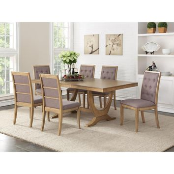 Birch Wood Dining Table With Striking Base Brown