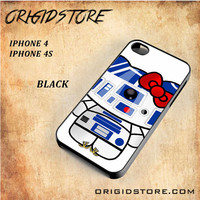 R2D2 Star Wars Hello Kitty Black White Snap On 3D For Iphone 4/4S Case