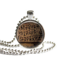 Stranger Things Alphabet Wall Silver Plated Picture Pendant Necklace