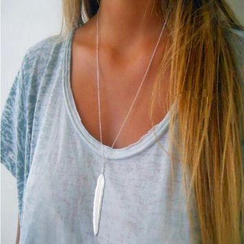 """Women Fashion 925 Sterling Silver Plated  Feather Pendant 24"""" Chain Necklace"""