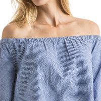 Off The Shoulder Seersucker Top
