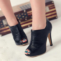 Peep-Toe Shoe Boots