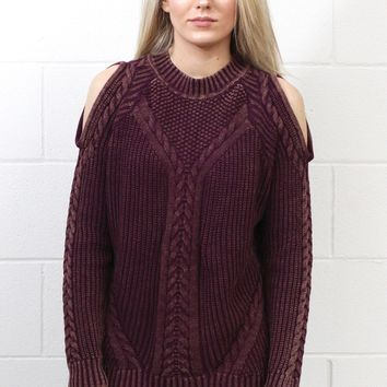 Cold Shoulder Dye Washed Knit Sweater {Mulberry} EXTENDED SIZES