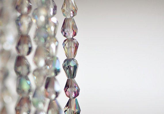 Teardrop  Faceted Crystal Glass Beads Clear Green by SomeSupplies