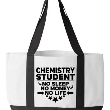 Chemistry Student Tote Bag Chemistry College Major Chemist Degree Bookbag No Sleep No Money No Life Funny Book Bag for Chemistry Students