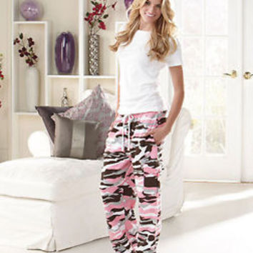 Women's Pink Camo Cargo Sweatpants Loung Wear Sizes Med 10/12 LG 14/16 XL 18/20