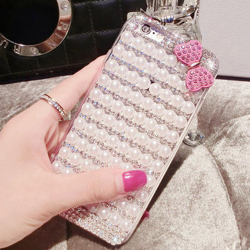 DIY Case For iPhone 6 6s 4.7 Inch Cute Bowknot Pearl Rhinestone Phone Back Cover Case for iPhone 6s Cases Luxury Girl Gift