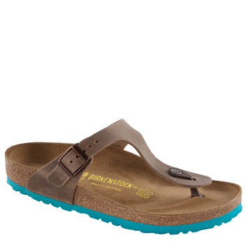 Happy Feet Plus® - Birkenstock Gizeh Oiled Leather Sandal Tobacco w/Mint Sole