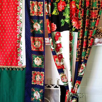 SALE! boho Curtains Christmas Wall Decor Bohemian chic holiday Patchwork  Angels Roses Red Bedroom Hippie Hippy wall cover drapes