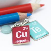 Periodic Table Word Necklace | CuTe Pendants | Sterling Silver Element Necklace