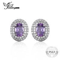 JewelryPalace Classic 1.1ct Natural Amethyst Halo Stud Earrings Genuine 925 Sterling Silver Fashion Fine Jewelry For Women 2017