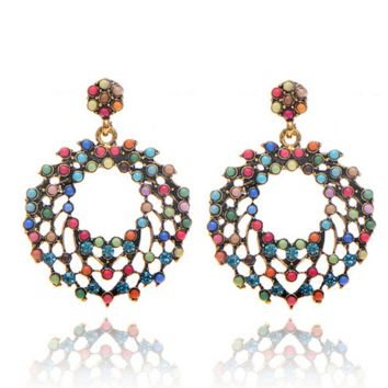 New fashion big Bohemian wind bead color circle exaggerated large earrings earrings jewelry