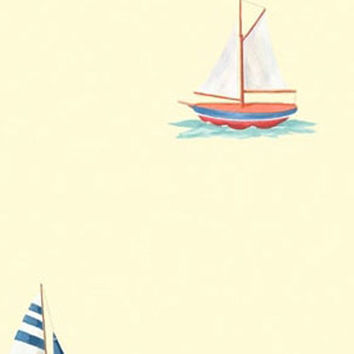 Nautical Sailing Yellow Sailboat Accent Decor Wallpaper Roll