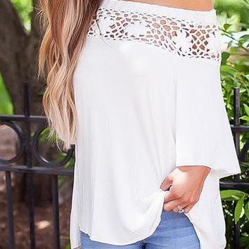 White Half-Sleeve One Shoulder Hollow Out Top