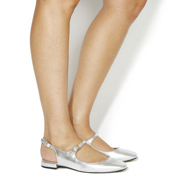 Office Dimples Square Toe Slingback Mary Janes Silver Leather - Flats