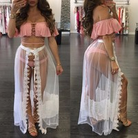 Fashion women maxi skirt White mesh lace long
