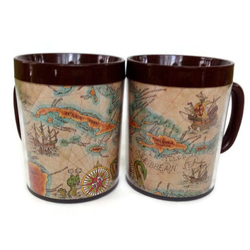 1970's Thermo Serv Mugs, West Bend, Carribean and Mexico Maps, Insulated Cups, Set of 2, Brown Handles, Aqua Orange and Tan, Retro Kitchen