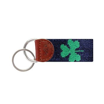 Shamrock Needlepoint Key Fob in Navy by Smathers & Branson