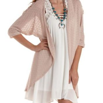 Pale Mauve Crochet-Back Textured Cocoon Cardigan by Charlotte Russe