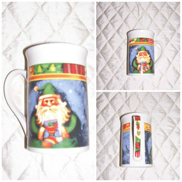 VINTAGE MUG Cup Christmas Santa Winter Scene Old World Santa Stocking Tree  Barware Drinkware Home Decor