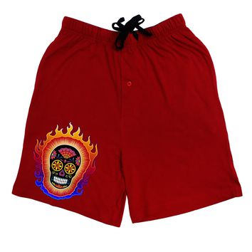 Sacred Calavera Day of the Dead Sugar Skull Adult Lounge Shorts - Red or Black by TooLoud