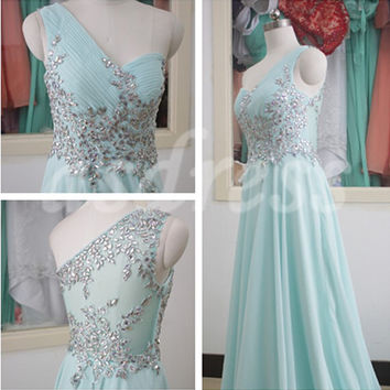New Tiffany Blue One Shoulder Long Bridesmaid Dress, Swarovski Crystal Chiffon Bridesmaid Gown Custom Tiffany Blue Homecoming Prom Gowns