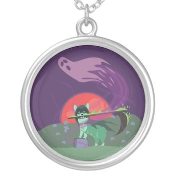 Grim Reaper Puppy Silver Plated Necklace