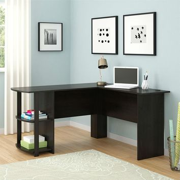 Black L Shape Computer Desk With Bookshelves Fits Well In Office Corner