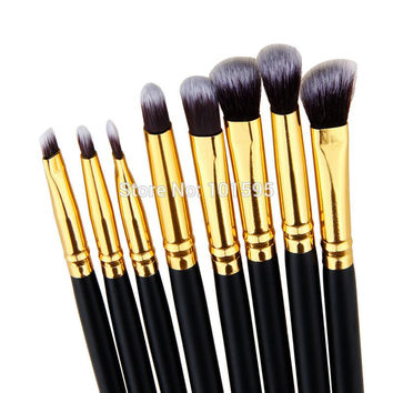 8PCS Makeup Brushes Cosmetics Eyeshadow Eyeliner Brush Kit Set Wooden Makeup tool Free shipping