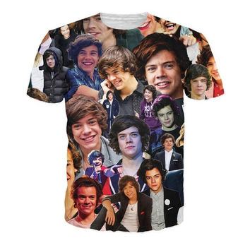 Harajuku One Direction harry styles t shirt hot style emoticons tshirt summer funny clothes men/boy top tees = 1919841284