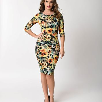Unique Vintage 1960s Style Yellow Floral Long Sleeve Mod Wiggle Dress