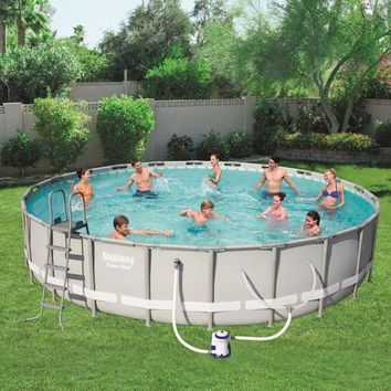 "16' x 48"" Outdoor Above Ground Round Swimming Pool Set with Filter,Ladder & Cover"
