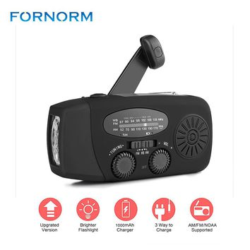 New Portable Solar Radio FM Hand Crank Self Powered Phone Charger 3 LED Flashlight AM/FM/WB Radio Waterproof Emergency Survival