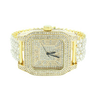 Square Face Mens Watch 14K Gold Finish Iced Out Watch Prong Set Bracelet