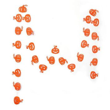 Halloween Party Banner Decorations Paper Pumpkin String Flag Banner For Halloween Party Home Decoration Hanging Ornament FES3863