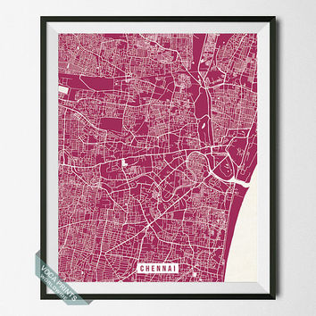 Chennai Print, India Map Poster, Chennai Street Map, India Print, Bay of Bengal, Tamil Nadu, Wall Art, Office Decor, Back To School