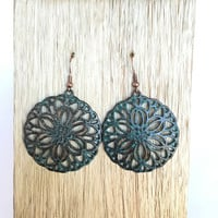 Blue Rustic Medallion Earrings