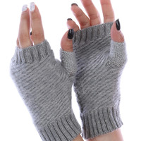 Grey Knitted Fingerless Hand Warmers