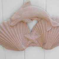 "Dolphin & Twin Shells Sand Casting / 14"" L x 10""H / Hand Made sand cast/ Sea shore decor / Hang on wall from hook / Perfect Bathroom decor"