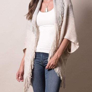 Ombre Fringe Sweater Wrap