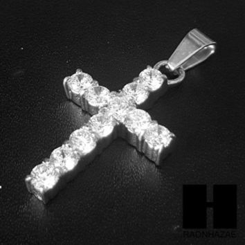 ESBONRC Iced Out 316L Stainless steel Silver 2Pac Cross Pendant Miami Cuban SS037