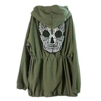 Back Skull Army Green Bomber Jacket Loose Hooded Coat Outwear