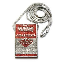 "Iced Out Cigarillos Swisher Sweets Pendant w/ 36"" Franco Chain Silver"