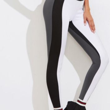 Colorblock Striped Leggings Frilled Ankle