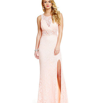 Jodi Kristopher Glitter-Accented Lace Illusion Yoke Gown | Dillards