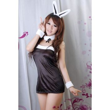 Lovely Bunny Girl Strapless Cosplay Costume with T-back Black