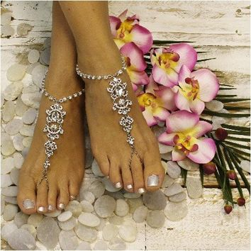 DIAMOND - wedding barefoot sandals - silver
