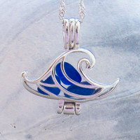 Ride the Wave of Life™ Cobalt Blue Sea Glass Sterling Silver Locket Necklace Summer Style Boho Beach Wedding by Wave of Life™
