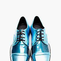 Nicholas Kirkwood Bright Blue Metallic Leather Derbys for men | SSENSE
